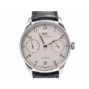 IWC Portuguese 7 Days IW 500704 SS / Leather White Series Dial Scale Galler Automatic Men's Watch Used Ginza