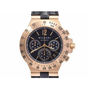 ブルガリ ディアゴノ 黒文字盤 CH40GTA メンズ YG/革 自動巻 腕時計 Aランク 美品 BVLGARI 中古 銀蔵