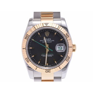 ROLEX Datejust black letter board 116263 D No. Men's YG / SS watch A rank 美 品 Japan Limited second hand silver store