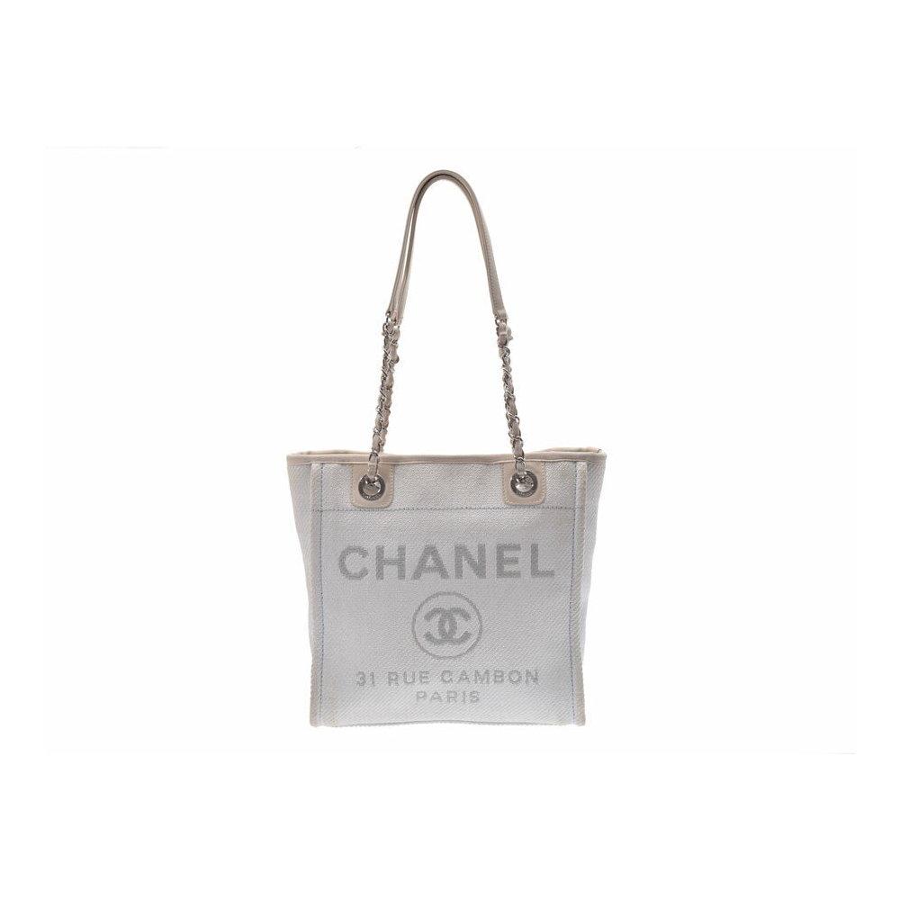 862caedd6ce7 Chanel Deauville PM white ladies canvas chain shoulder bag BC rank CHANEL  second hand silver storage