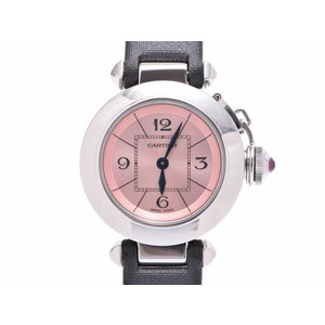 Cartier Miss Pasha pink dial face ladies SS / satin wristwatch quartz A rank beautiful goods CARTIER used silver storage