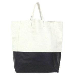 Genuine CELINE Celine Cava Bai Colour Tote Bag Leather White Black