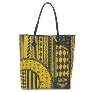 4a5c0482e97 Genuine MCM Monogram Tote Bag Leather Striped Diamond Pattern Yellow Pouch