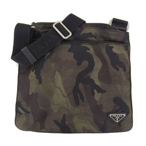 Genuine PRADA Prada Nylon Flat Shoulder Bag Leather Camouflage