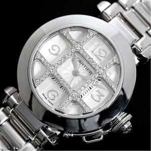 Cartier Pasha 32 diamond grid WJ1014M9 self winding WG solid women's watch finished