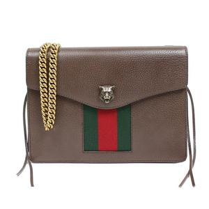 Gucci GUCCI Animal Leather Chain Shoulder Bag 431283 Brown Gold Hardware Women's