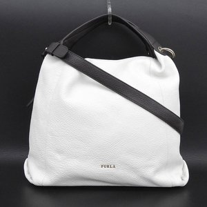 Furla FURLA current metal logo Bicolor Elizabeth 2way shoulder tote bag white burnt tea beige