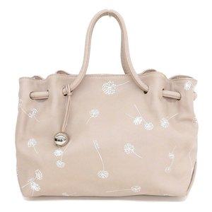 Furla FURLA Carmen Rare Pattern Dandelion Fluff Dande Lion Shoulder Tote Bag Leather Pink Beige White