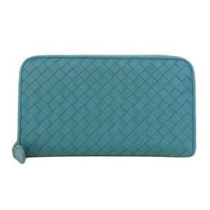 Bottega Veneta BOTTEGA VENETA Intoreza round zip wallet with Blue Green