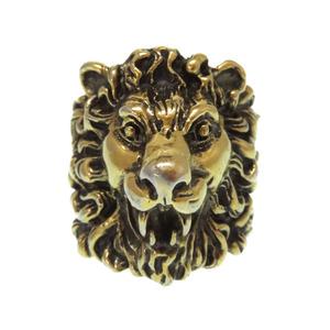 Gucci lion head gold ring men's size 23 accessory 0278 GUCCI