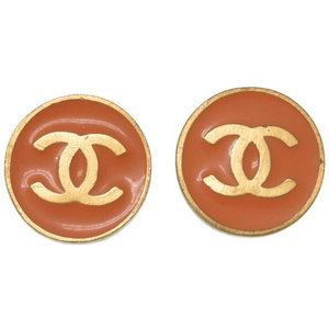 Chanel Coco Button Earrings Gold / Orange 01 P Engraving Accessory 0027 CHANEL