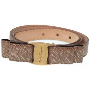 Salvatore Ferragamo Ferragamo Vala leather belt gold as new CI-23 A232 Women's 0341 Salvatore