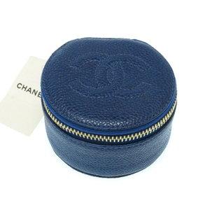 Unused Chanel Caviar Skin Jewelry Case Multi A 02786 Blue 0272 CHANEL