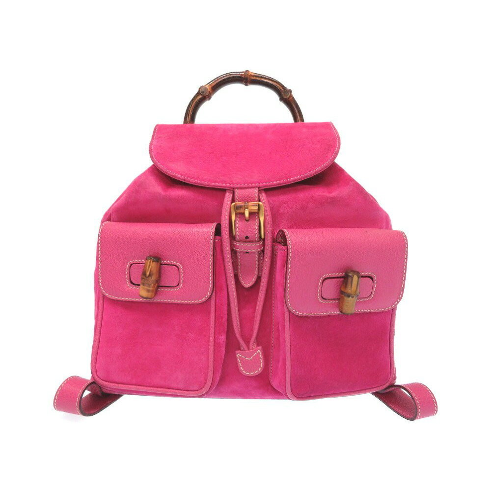 cd6e9b27f38 Gucci Bamboo Suede Pink 003 2058 Backpack Daypack Bag 0333 GUCCI