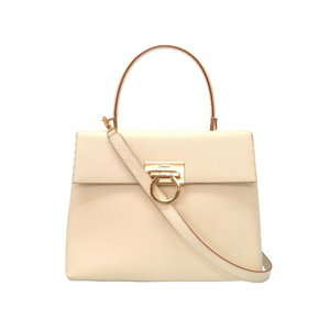 Salvatore Ferragamo Gancini AF - 21 0290 Leather Ivory Handbag Bag 0233