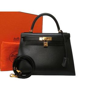 Like new Hermes Kelly 28 Outer sewing box calf black gold hardware V bracket New metal fittings □ G stamped handbag bag 0253 HERMES