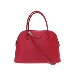 Hermes Boledo 27 Epson Rouge Garance 2way Handbag □ J stamped silver bracket with strap 0130 HERMES