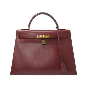 Hermes Kelly 32 Outer sewing box Carf Rouge Ash Gold Hardware 〇 R Engraved Handbag Bag 0248 HERMES