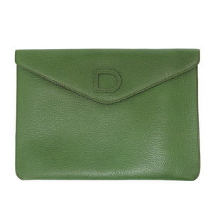 Del Bow Pouch Second Clutch Bag Leather Green Men's 0119 DELVAUX Women's as New