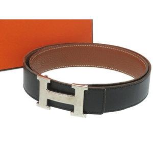 Hermes Constance H Buckle Belt Box Calf / Triill Clemence Black □ F Engraved 0039 HERMES Men's Size 80