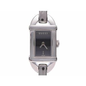 グッチ バンブーウォッチ 黒文字盤 6800L レディース SS/バンブー クオーツ腕時計 Aランク 美品 GUCCI 中古 銀蔵