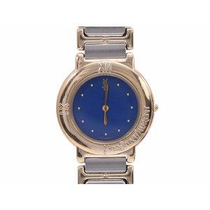 イブサンローラン アンティークウォッチ 青文字盤 メンズ SS クオーツ腕時計 ABランク YVES SAINT LAURENT 中古 銀蔵