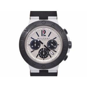 ブルガリ アルミニウム クロノ 白系文字盤 AC44TA メンズ アルミ/ラバー クオーツ腕時計 ABランク BVLGARI 中古 銀蔵