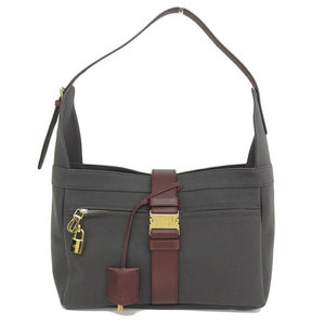Loewe LOEWE canvas one-shoulder bag charcoal gray × Bordeaux * BG