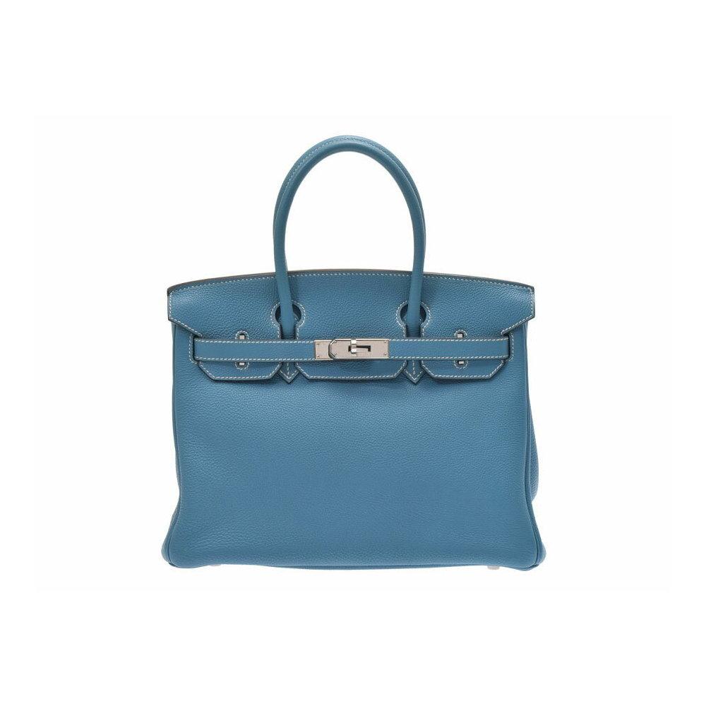 Hermes Birkin 30 Blue Gene Palladium Hardware □ K Engraved Ladies Togo  Handbag AB Rank HERMES ... d5eb48e82