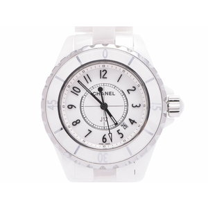 シャネル J12 白文字盤 H0968 メンズ レディース 白セラミック/SS クオーツ 腕時計 Aランク 美品 CHANEL 中古 銀蔵