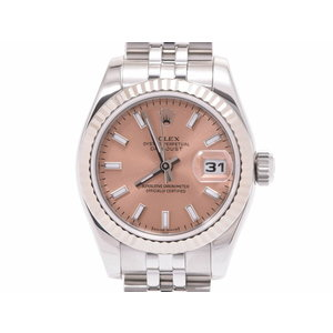 Rolex Datejust Pink Dial 179174 D Women's WG / SS Automatic Watch A Rank ROLEX Box International Service Warranty Second Hand Grain