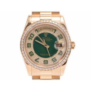 Rolex day-date 50th anniversary green / diamond bezel 118348 Z No. Men's YG self-winding wristwatch A rank beautiful goods ROLEX secondhand silver store