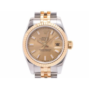 Rolex Datejust Champagne Dial 179173 M Ladies YG / SS Automatic Volume Watch A Rank Mid ROLEX Box Gala Used Ginza