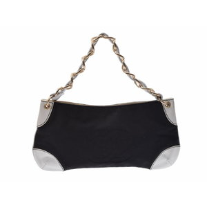 43389627d482 Chanel One Shoulder Bag Black / White Ladies Canvas Leather B Rank CHANEL  Used Ginza