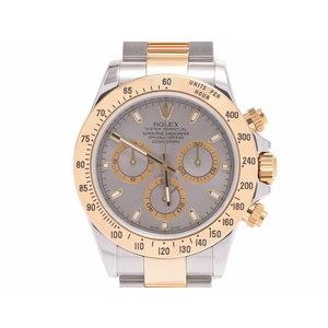 ROLEX daytona gray dial plate 116523 Z No. Men's YG / SS automatic winding wristwatch A rank 美 品 box galley second hand silver storage