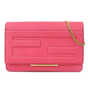 Real FENDI Fendi calf chain wallet shoulder pink 8M0346
