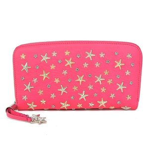 Real JIMMY CHOO Jimmy Chu Star Studs Round Zipper Long Purse Shocking Pink Wallet