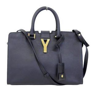 Real SAINT LAURENT PARIS Saint Laurent Paris Petit Cabas Leather 2 Way Handbags Navy Bag