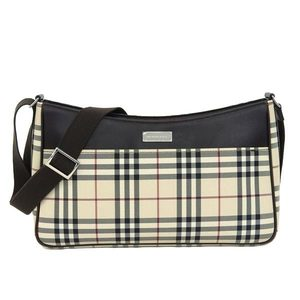 Authentic Burberry check pattern shoulder bag beige × dark brown leather