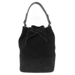 Genuine CELINE Celine suede draw string tote bag shoulder black leather