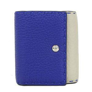 Genuine FENDI Fendi Celia leather compact purse blue × light gray wallet