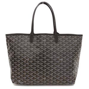 Goyard Genuine GO YARD Goyar PVC Saint Louis PM Tote Bag Black Tea Leather