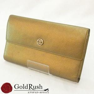 CHANEL Chanel Coco Button Tri-fold Long Purse Gold Goat Skin Mark Women's