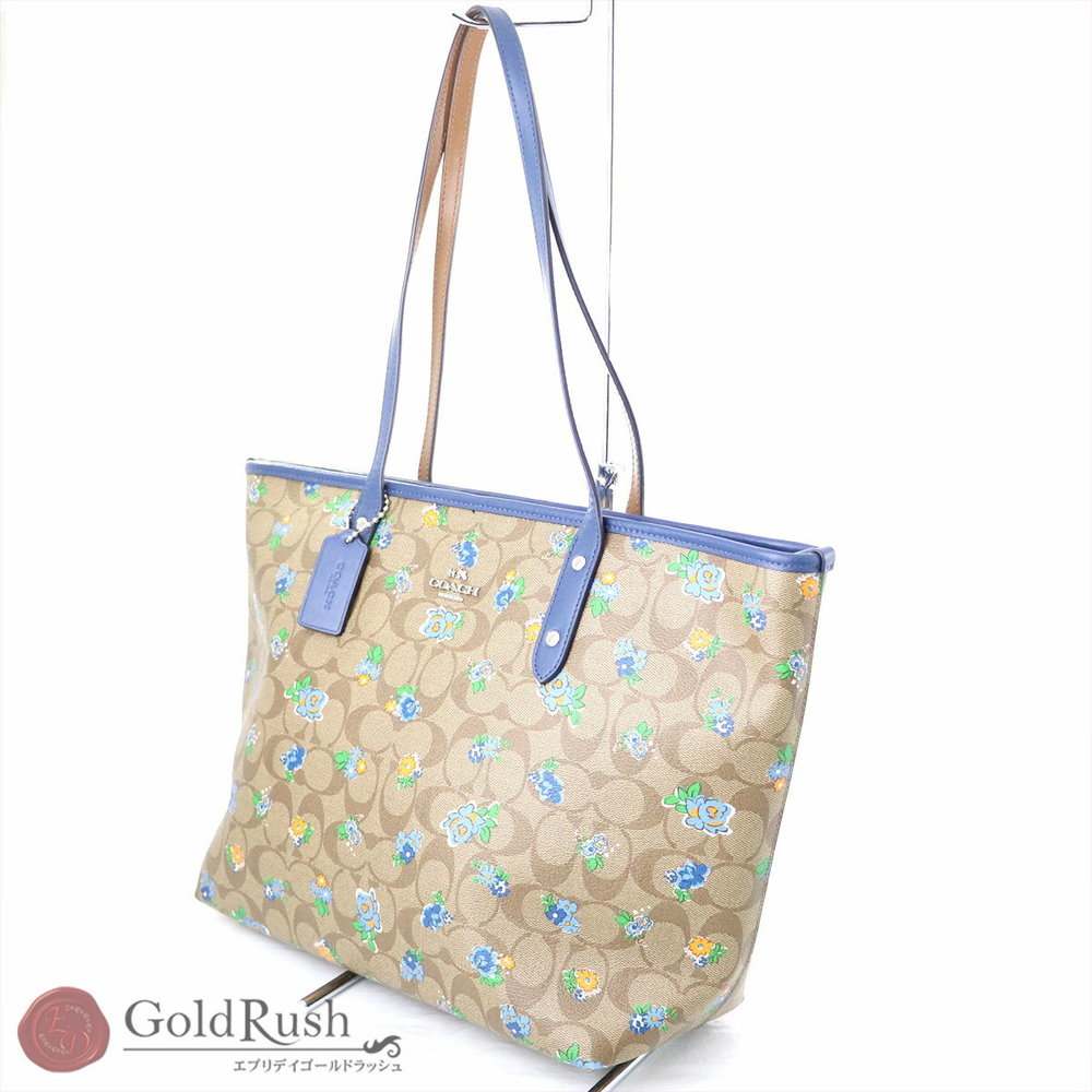 Coach Signature Zip Tote Bag Flower Pattern Pvc Leather F 57888 Womens
