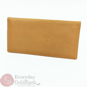 Loewe LOEWE Anagram Men's Women's Folded Wallet Long Purse Leather Camel Color