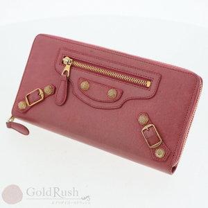 Balenciaga BALENCIAGA Round zipper wallet with gold studs 253053 Rose pink