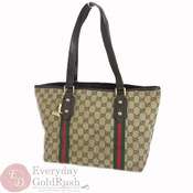 5798a6a09c6 Gucci GUCCI GG Canvas Leather Sherry 137396 Tote Bag Dark Brown Bargain