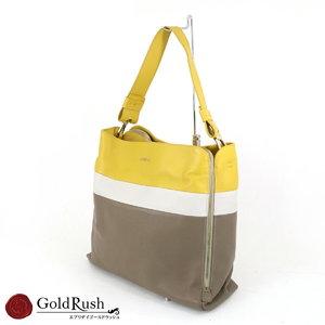 FURLA Furla Yellow / Gray Dark Brown Multi Color Leather Shoulder Bag Women's