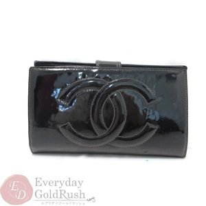 CHANEL Chanel Enamel Pouch Wallet Black Double Fold