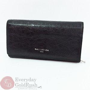 Balenciaga BALENCIAGA Lamb Leather Folded Long Wallet Men's Women's Black Logo included